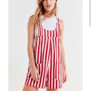 Urban Outfitters Candy Stripe Romper Overalls